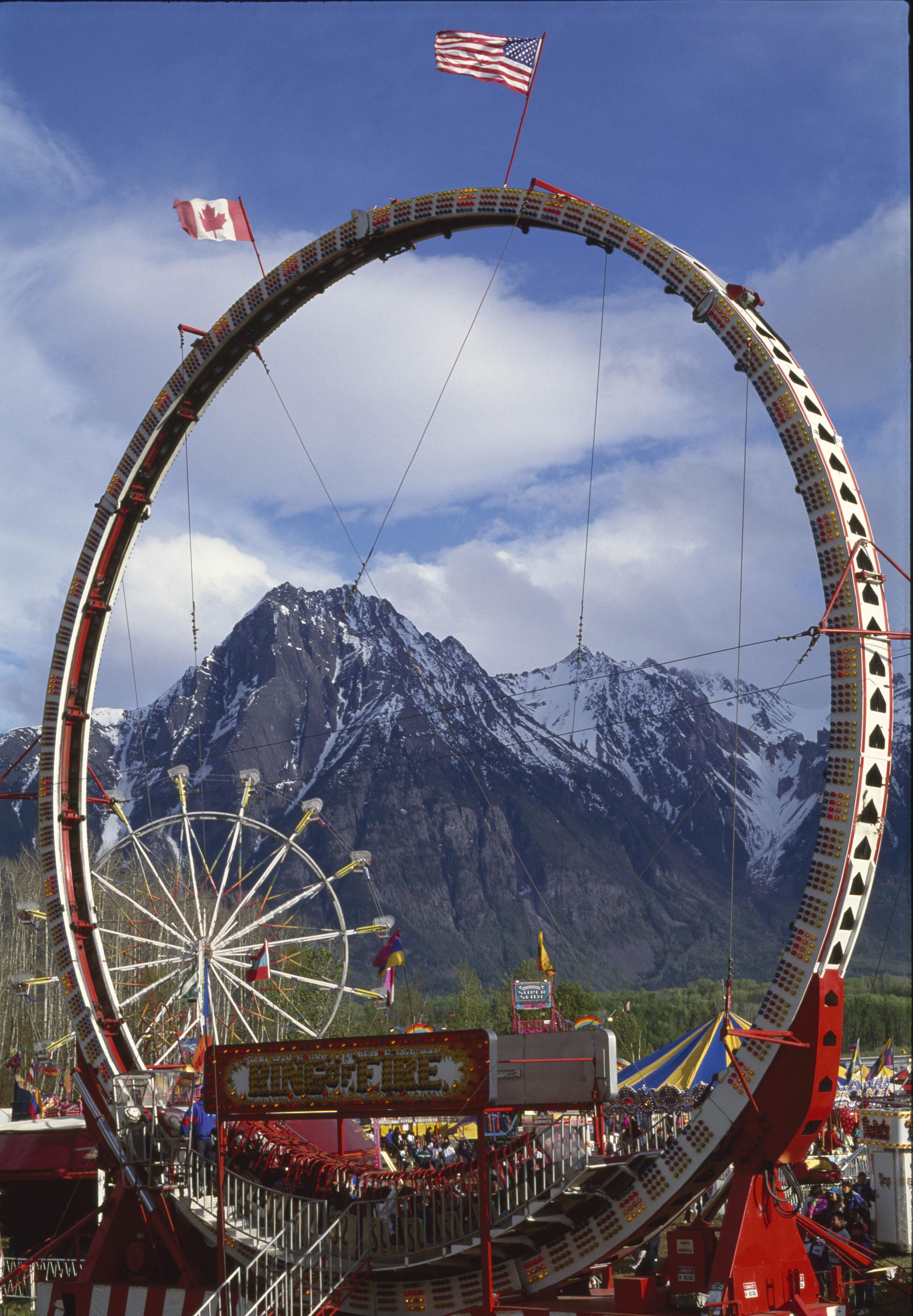 Rollercoaster at a fair in Hazelton, British Columbia, Canada, 1994