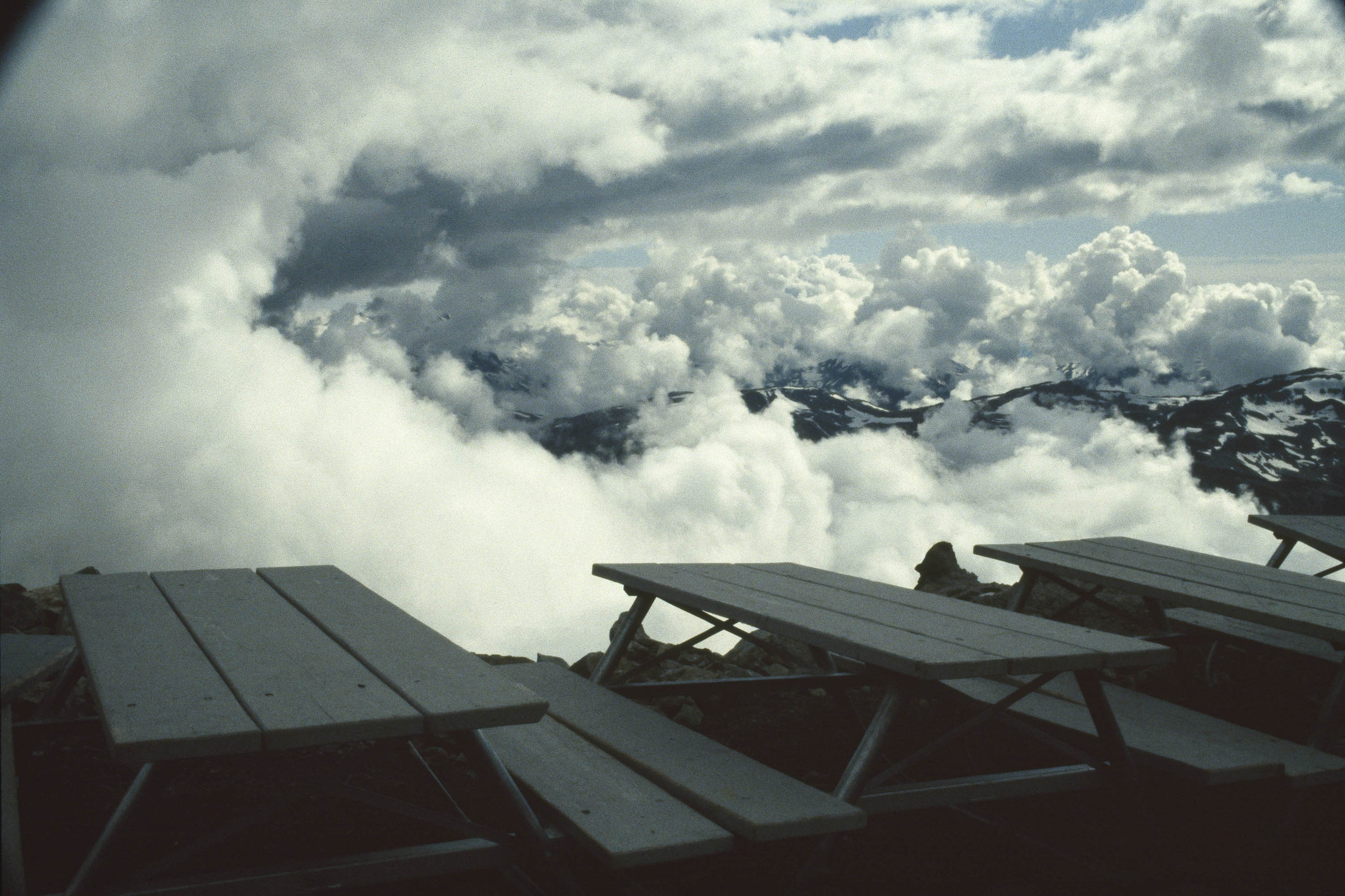 Picnic tables at the mountain top, Whistler, BC, Canada, 1991